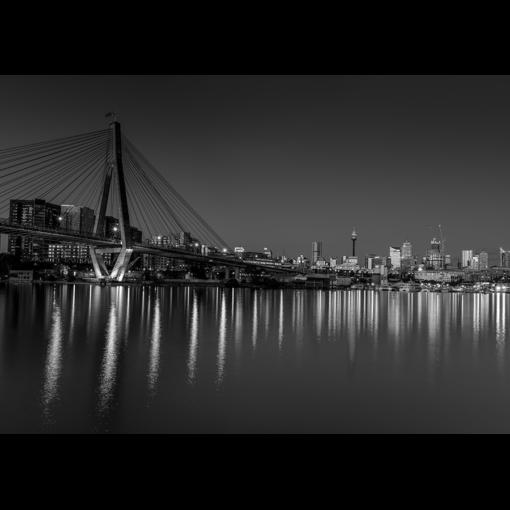 Blackwattle Bay, Night (B&W) | Sydney Shots